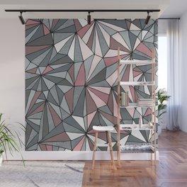 Urban Geometric Pattern on Concrete - Dark grey and pink Wall Mural