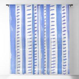 Watercolor lines - blue Sheer Curtain