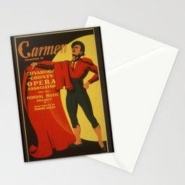 Vintage American WPA Theater Poster - Carmen, at Cuvahoga County Opera (1939) Stationery Cards