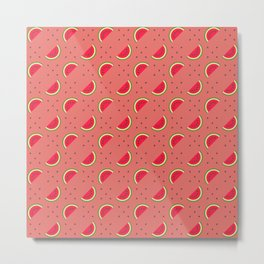 Cut red colour watermelon with seeds and pink background repeat pattern Metal Print