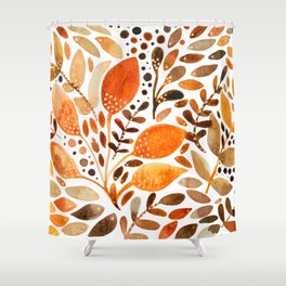 Autumn watercolor leaves Shower Curtain