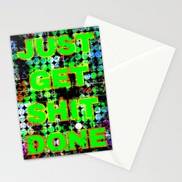 just get it done quote with circle pattern painting abstract background in green blue pink Stationery Cards