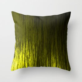 Bright texture of shiny foil of yellow flowing waves on a dark fabric. Throw Pillow