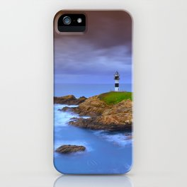 View of Pancha Island in Ribadeo, Lugo before a storm. iPhone Case