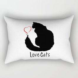 Love Cats-Animal Lover-Cat-Heart Rectangular Pillow