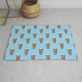 Happy coffee cup pattern on blue Rug