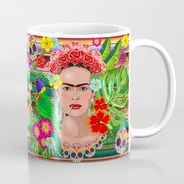 Frida Kahlo Floral Exotic Portrait Kaffeebecher