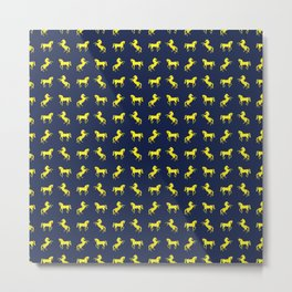 Rearing Horses - yellow and denim blue theme Metal Print