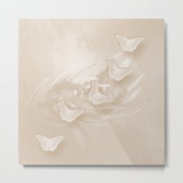 Fabulous butterflies and wattle with textured chevron pattern in subtle iced coffee Metal Print