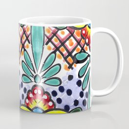 Colorful Talavera, Yellow Accent, Large, Mexican Tile Design Coffee Mug