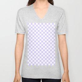 White and Pale Lavender Violet Checkerboard Unisex V-Neck