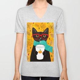 Autumn Black Coffee Cat Unisex V-Neck