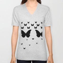 GOTHIC EBONY BLACK BUTTERFLIES & WHITE-BLACK ART Unisex V-Neck