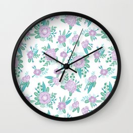 Floral bouquet pastel mint lilac florals painted painted pattern basic minimal pattern print Wall Clock