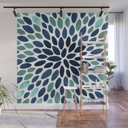 Flower Bloom, Aqua and Navy Wall Mural