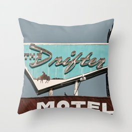 Vintage Neon Sign - The Drifter - Silver City Throw Pillow