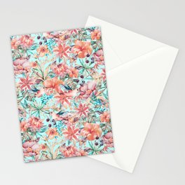 Tropical Jungle Flowers And Birds In Soft Pastels Stationery Cards