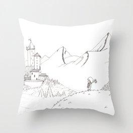 Adventure Awaits Drawing Throw Pillow
