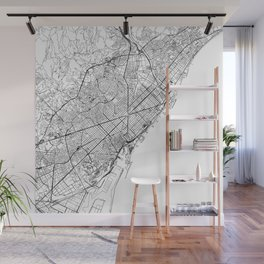 Barcelona White Map Wall Mural