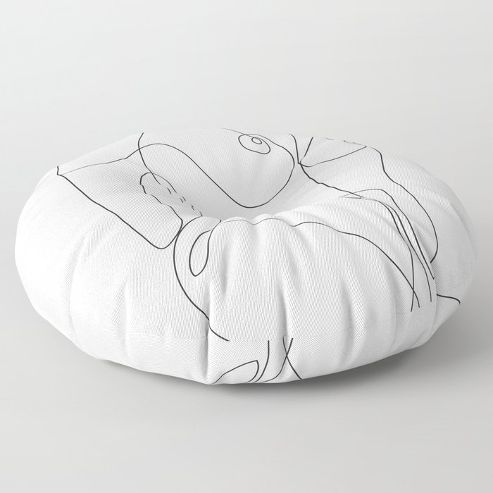 Minimal Line Art One Line Female Figure II Floor Pillow