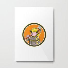 Fireman Firefighter Axe Circle Cartoon Metal Print