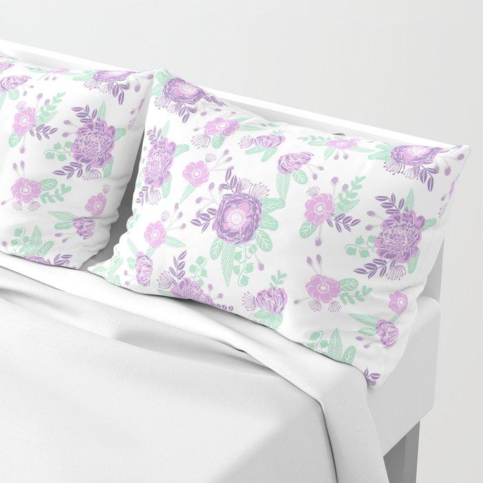 Floral pattern minimal painted nursery mint and purple pastel decor florals Pillow Sham