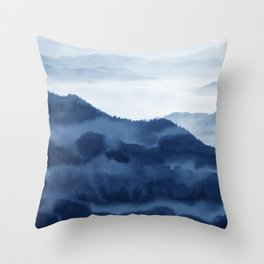 Blue Mountain 1, Abstract Watercolor Art Print By Synplus Throw Pillow