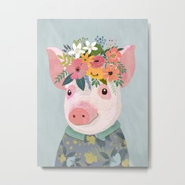 Pig with floral crown, farm animal Metal Print