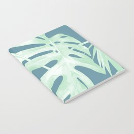 Tropical Leaves Luxe Ocean Teal Blue Pastel Green Notebook