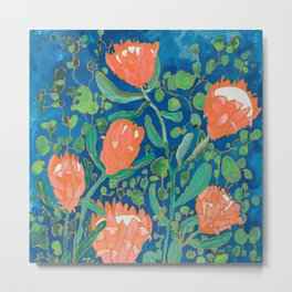 Coral Proteas on Blue Pattern Painting Metal Print