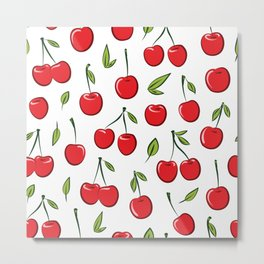 Cheerful cherry pattern. Colorful cherries on white Metal Print