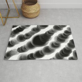 Ghostly Glowing Round Abstract - Black and White Rug