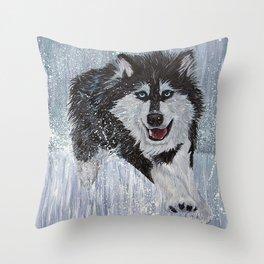 Husky Running Throw Pillow