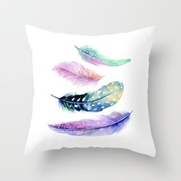 Watercolor Feather Throw Pillow