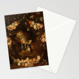 """Jan van Kessel """"Madonna with the Child Framed with a Garland of Flowers"""" Stationery Cards"""
