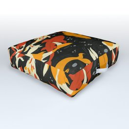 Koi in Black Water Outdoor Floor Cushion