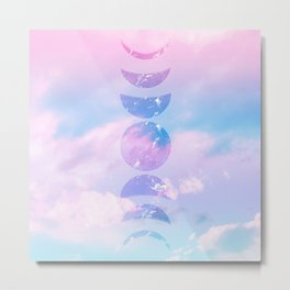 Unicorn Pastel Clouds Moon Phases #1 #decor #art #society6 Metal Print