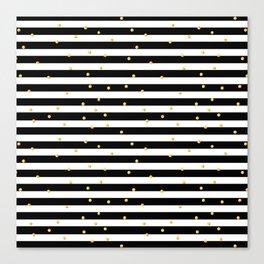 Modern black white gold polka dots striped pattern Canvas Print