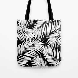 Palm Tree Fronds White on Black Hawaii Tropical Décor Tote Bag