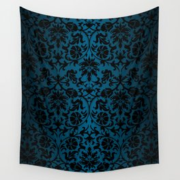 Teal and Black Floral Damask Wall Tapestry