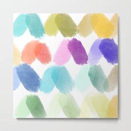 Watercolor brush texture pattern in white Metal Print