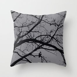 Happy Halloween spooky tree, black and gray Throw Pillow