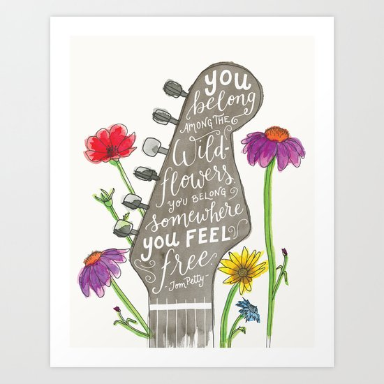 You belong among the wildflowers. Tom Petty quote. Watercolor guitar illustration. Hand lettering. by thejonellejones