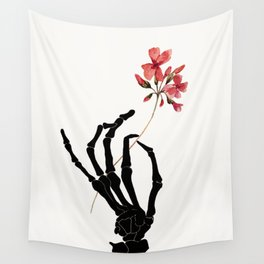 Skeleton Hand with Flower Wall Tapestry