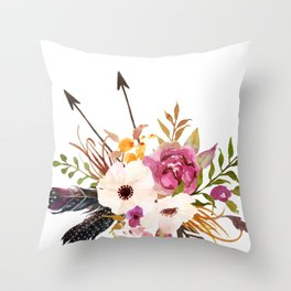 Watercolor Boho Flower Bouquet Throw Pillow