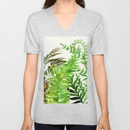 Watercolor Plants Unisex V-Neck