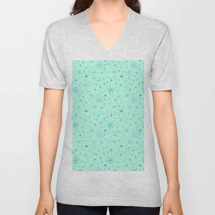 Atomic Starry Night in Mod Mint Unisex V-Neck