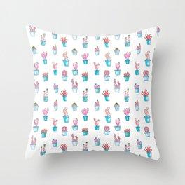 Cactus Succulent Garden in Psychedelic Pink Throw Pillow