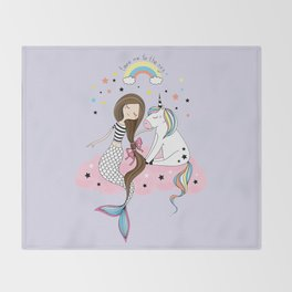 Mermaid & Unicorn Throw Blanket