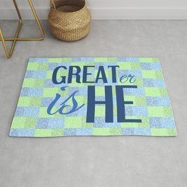 Christian GREATER IS HE Rug